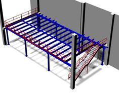 Mezzanine structures for office and warehouse. Steel mezzanine galvanized and earthquake-proof Metal Garage Buildings, Shop Buildings, Steel Buildings, Warehouse Living, Warehouse Design, Warehouse Office, Garage House, House Roof, Welded Metal Projects