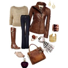 """fall outfit jeans brown leather jacket"" by jenjennyo on Polyvore"