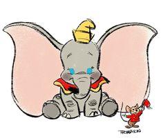 Steven Thompson - Disney Dumbo & Timothy Q. Disney Artwork, Disney Fan Art, Disney Love, Disney Magic, Disney Ideas, Disney And Dreamworks, Disney Pixar, Disney Characters, Dumbo Disney