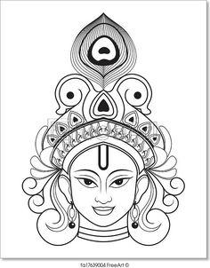 Beautiful Outline Drawing of Lord krishna. Kerala Mural Painting, Indian Art Paintings, Outline Drawings, Art Drawings Sketches, Mandala Art Lesson, Art Drawings Beautiful, Madhubani Art, Indian Folk Art, Free Art Prints