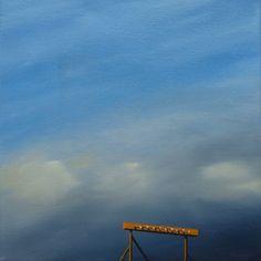 Blue sky original oil painting - Airfield