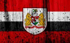 Download wallpapers 4k, FC Bristol City, grunge, EFL Championship, art, soccer, football club, England, Bristol City, logo, stone texture, Bristol City FC