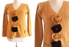 Floral  Wool Sweater M by RebeccasArtCloset on Etsy