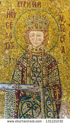 ISTANBUL, TURKEY - Empress Irene, a Byzantine mosaic in the interior of Hagia Sophia