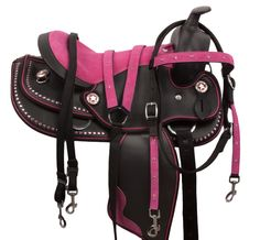 Pink Dura Leather Synthetic Western Horse Saddle 12 16
