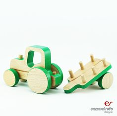 Wooden Push Toy Car Tractor Birthday Wooden Tractor with