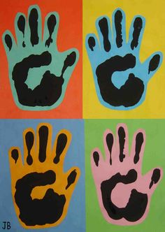 Trace and cut out hand, then print, then glue onto background paper. What a cool effect!