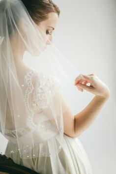 Veil with beaded detailing from Three Sunbeams | Jenny Sun Photography | see more on: http://burnettsboards.com/2014/09/delicate-sparkly-bridal-accessories/