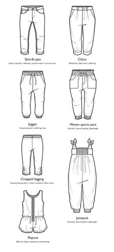 Fashion flat pant variations #fashionsketch #fashionflat #illustrator