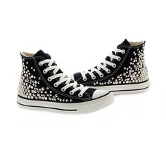 Studded Converse, Converse High Top with Silver pyramid Studs For... ($140) ❤ liked on Polyvore featuring shoes, sneakers, black shoes, silver shoes, high top shoes, silver high top sneakers and black hi tops