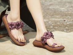 Handmade Purple Sandals with Flowers Women's Leather
