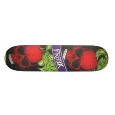 Red Skulls Freak Skateboard Skateboards For Sale, Skulls, Sunglasses Case, Cool Designs, Sweet, Red, Stuff To Buy, Candy, Skeletons