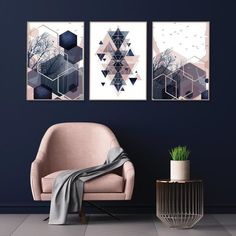 Set of 3 downloadable geometric abstract prints in blush pink. So easy to download and print. #blushnavy #printableart #downloadableprints #pinknavybedroom #trendingnowart #urbanepiphany Navy Bedrooms, Gold Bedroom, Pink Images, Home Printers, Wall Decor, Wall Art, Poster Wall, Printable Art, Blush Pink