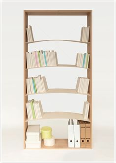 """Bookshelf' by A'postrophe Design ~ We usually tilt the last book on the shelf in order to prevent the books from falling. Likewise, a wide variety of bookends are on the market for the same purpose. This """"conscious action"""" or """"auxiliary bookend"""" is a correction. Bookshelf' has its own radian, which can keep the books on the shelf to one side without the additional rectification mentioned above. The natural shape makes conscious rectification unnecessary."""