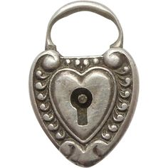 Sterling Silver Repousse Puffy Heart Padlock Charm~ Beautifully Engraved 'E' Antique Keys, Vintage Keys, Antique Jewelry, I Love Heart, Key To My Heart, Heart Charm, Under Lock And Key, Key Lock, Hex Girls