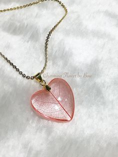 Lovely red leaf skeleton resin necklace,transparent heart resin,14K gold plated chain necklace,special gift,love gift,ready to ship