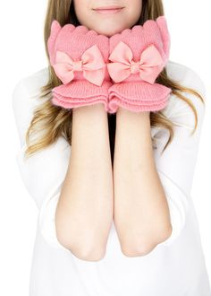 PINK RUFFLE GLOVES pink knit gloves with bow black by gertiebaxter