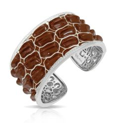 "Coccodrillo Collection; Brown Bangle Bracelet; Italian for ""Crocodile"", Coccodrillo by Belle Étoile transforms the sleek power of its namesake into trendy and luxurious jewelry.  Our 925 sterling silver is expertly crafted into ridges that mimic the sensual texture of crocodile skin. Exotic and chic, Coccodrillo is luxury redefined."