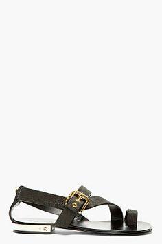 Giuseppe Zanotti Black Leather Metal Accent Sandal