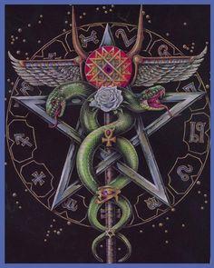Pentacle aile et serpent