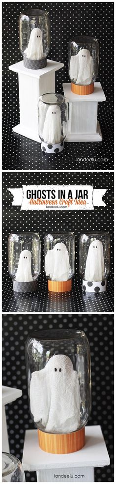 "Adorable ""Ghosts in a Jar"" Halloween Decorations Craft DIY Tutorial   Landeelu - Spooktacular Halloween DIYs, Crafts and Projects - The BEST Do it Yourself Halloween Decorations"