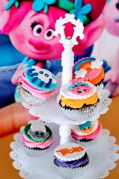 Check out this fun Trolls birthday party! The cupcakes are so cute! See more party ideas and share yours at CatchMyParty.com #catchmyparty #partyideas #trolls #trollsparty #girlbirthdayparty #cupcakes Trolls Birthday Party, Troll Party, Girl Birthday, Birthday Parties, Birthday Cake, Vanilla Cupcakes, Chocolate Cupcakes, Troll Cupcakes, Cupcake Flavors