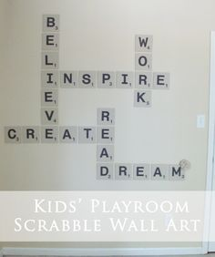 Sewing projects for kids room wall art 63 ideas Scrabble Tile Crafts, Scrabble Wall Art, Scrabble Letters, Kids Letters, Print Letters, Kids Room Wall Art, Diy Wall Art, Playroom Art, Playroom Ideas
