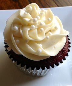 Red velvet cupcakes with a light cream cheese frosting