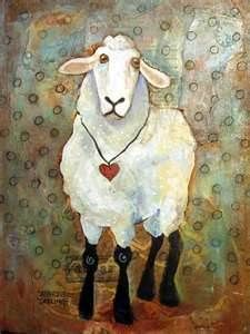 sheep folk art paintings -