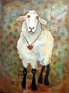 sheep folk art paintings -