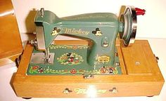 Sewing Toys Vintage Mickey Mouse Sewing Machine in wood carrying case, Mickey Mouse Toys, Minnie Mouse, Vintage Mickey Mouse, Vintage Disney, Sewing Machines Best, Antique Sewing Machines, Vintage Sewing Notions, Vintage Sewing Patterns, Antique Toys