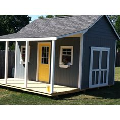 cute shed with a porch
