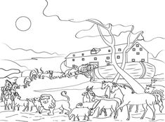 noah and the ark bible story colouring page | the story of noahs ... - Noahs Ark Coloring Page Printable