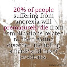 "20% of people suffering from anorexia will prematurely die from complications related to their eating disorder, including suicide and heart problems. Anorexia is not a ""trend, a look, a size, a number, thigh gaps, hips bones, or any kind of diet""..Anorexia Nervosa is a serious mental illness, not a choice. It has the highest mortality rate of any mental illness. People who are glamorizing this disorder, you obviously don't understand what it means to be anorexic"