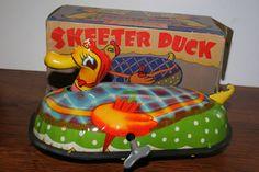 Lindstrom Skeeter Duck  Tin Litho toy from 30s  ebay Tin Toys, 1930s, The Originals, Ebay, Food, Vintage, Eten, Vintage Comics, Meals