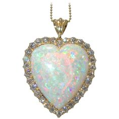 30 carat Opal diamond Gold heart Pendant | From a unique collection of vintage drop necklaces at https://www.1stdibs.com/jewelry/necklaces/drop-necklaces/