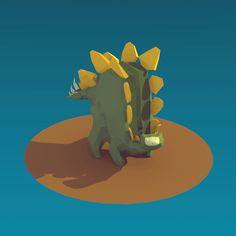 stegosaurus stenops low poly