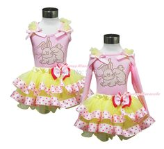 27.99$  Buy here - http://aiw6o.worlditems.win/all/product.php?id=32290138825 - Easter Rhinestone Bunny Pink Top Yellow Pink Dots Satin Trim Pettiskirt Set 1-8Y MAPSA0424