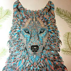 Dissertation de-stress #adultcolouring #themenagerie #wolf #colouringcraze