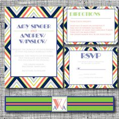 Custom Modern Retro Printable Wedding Invitation - Retro Wedding Printables - Cheap Printables - Colorful Wedding Printable - Printable Wedding Retro Invitation Set by 105DesignHouse