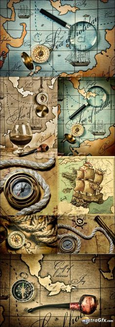 Old compass on the map - Stock photo