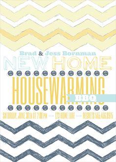 new home invitation, housewarming invitation, housewarming party invites, party box design, invitations, chevron invitation