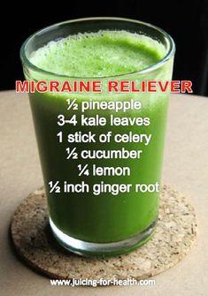 Migraine Reliever Juice Recipe Rich in Magnesium, Calcium and Potassium - 10 Homemade Migraine Remedies, Tips and Infographics http://juicerblendercenter.com/specific-health-benefits-of-juiced-produce/ #migraineinfographics