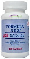 Formula 303 (Maximum Strength Relaxant) - 250 Tablets - $41.63 (the best price that I have found anywhere   ****this stuff is a lifesaver for me because I can't take prescription muscle relaxers****