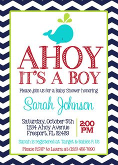 navy chevron whale baby boy shower 5x7 invitation printable on etsy 800