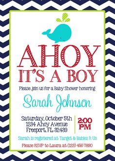 NAVY CHEVRON WHALE - Baby Boy Shower 5x7 Invitation Printable on Etsy, $8.00