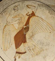 Afrodita montando un cisne: kílix ática de figuras rojas sobre fondo blanco, c. 460 a. C., hallado en Cámiros (Rodas)