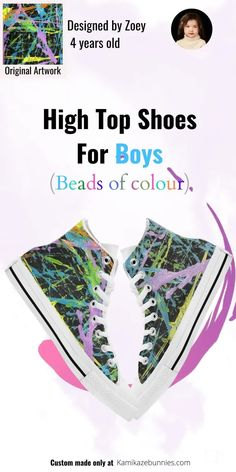 High-top shoes for boys that stand out with amazing style! Yep, boys like to be fashionable, and these super cool sneakers will bring an amazing sense of style to their outfits! so if you are looking for some kids shoes for your stylish boy, check out these beads of colour kicks. They are guaranteed to make him smile. Custom Sneakers, Custom Shoes, Boy Shoes, Girls Shoes, Coloring For Boys, Converse Style, Stylish Boys, Boys Wear, Modern Kids