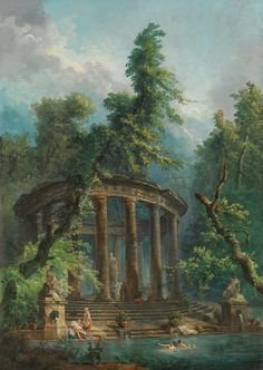 Bathing Pool Hubert Robert May 1733 – 15 April was a French painter, noted for his landscape paintings and picturesque depictions of ruins. Fantasy Landscape, Fantasy Art, Pool Paint, Classic Paintings, European Paintings, Art Paintings, Landscape Paintings, Classical Art, Renaissance Art