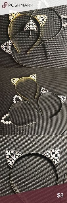 One is silver wi Charcoal Hair, Gold Hair Accessories, Three Cats, Head Bands, Cat Ears, One Size Fits All, Crystal Rhinestone, Cute Cats, Best Deals